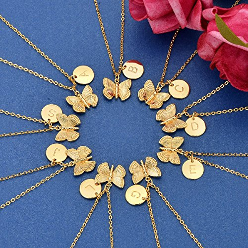 Initial-Butterfly-Pendant-NecklaceWomen-14k-Gold-Plated-Handmade-Dainty-Butterfly-Necklace-with-Initial-Round-Disk-Pendant