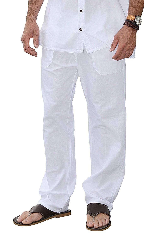 M&B USA Cotton White Pants Summer Beach Elastic Waistband Casual Pants (Large, White)