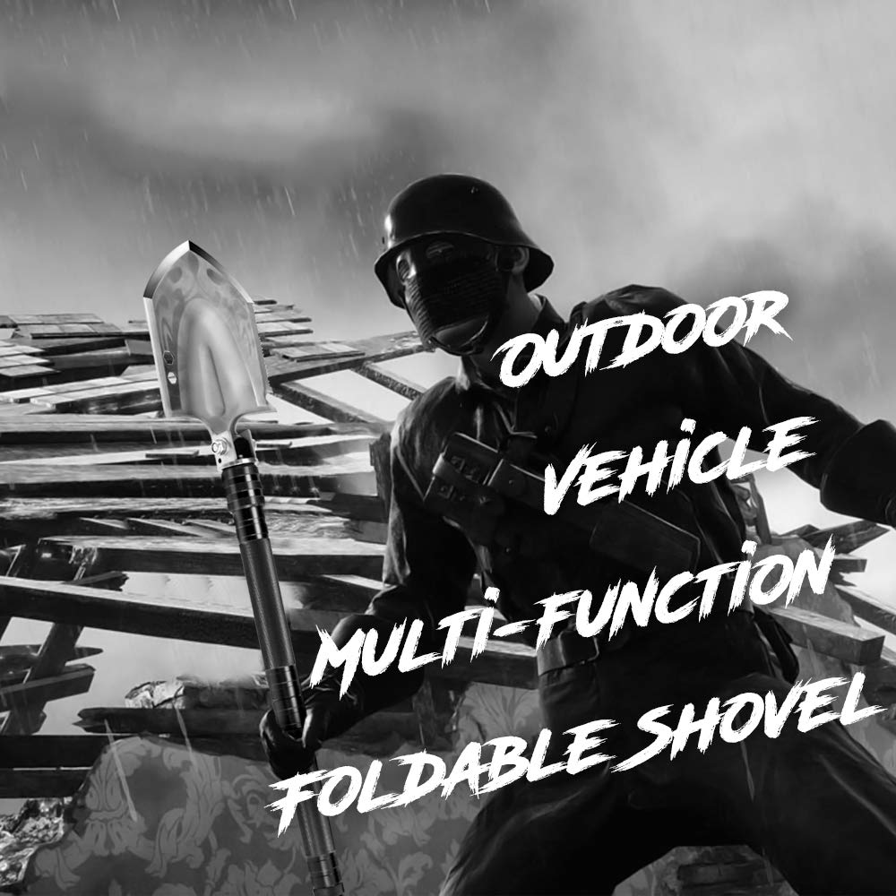 DONGKER Folding Shovel Military Survival Shovel Multitool Portable Tactical Entrenching Tool Compact Backpacking for Hunting, Camping, Hiking, Fishing, Gardening Car Emergency, 33''&19'' (Black-L) by DONGKER (Image #4)