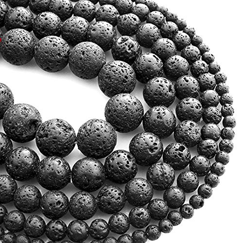 4-12mm Natural Black Volcano Lava Rock Stone Gemstone Round Loose Beads for Bracelet Necklace Earringsmaking Hk019