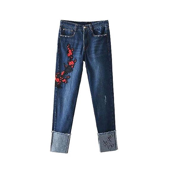 Floral Appliqué Denim Jean