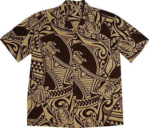 XL Brown Maori Tribal Tattoo Men's Hawaiian Shirt