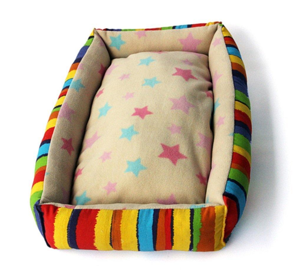 LongYu Pet Nest,Cotton colorful Stripes Pet Nest Autumn Winter Warm Waterloo Dog Bed Cat Bed Mat 5 Size (color   colorful Stripes, Size   L)