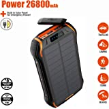 2020 Newest 18W 26800mAh Solar Power Bank with Dual Input and 3 Output Ports (Type C 3.1A + Micro USB 3.1A) IP66 Waterproof Large Capacity Portable Charger Qi Wireless Charger Solar Charger, Quick Charging and Recharging External Battery Packs for Nintendo Switch, Samsung Galaxy, iPhone 8/8P/X, iPad, Tablets and More