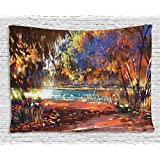 Fantasy Art House Decor Tapestry by Ambesonne, Refreshing Nature Painting at Serene Pond Illusionary