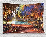 Fantasy Art House Decor Tapestry by Ambesonne, Refreshing Nature Painting at Serene Pond Illusionary Perspective Swamp, Wall Hanging for Bedroom Living Room Dorm, 80WX60L Inches, Multi