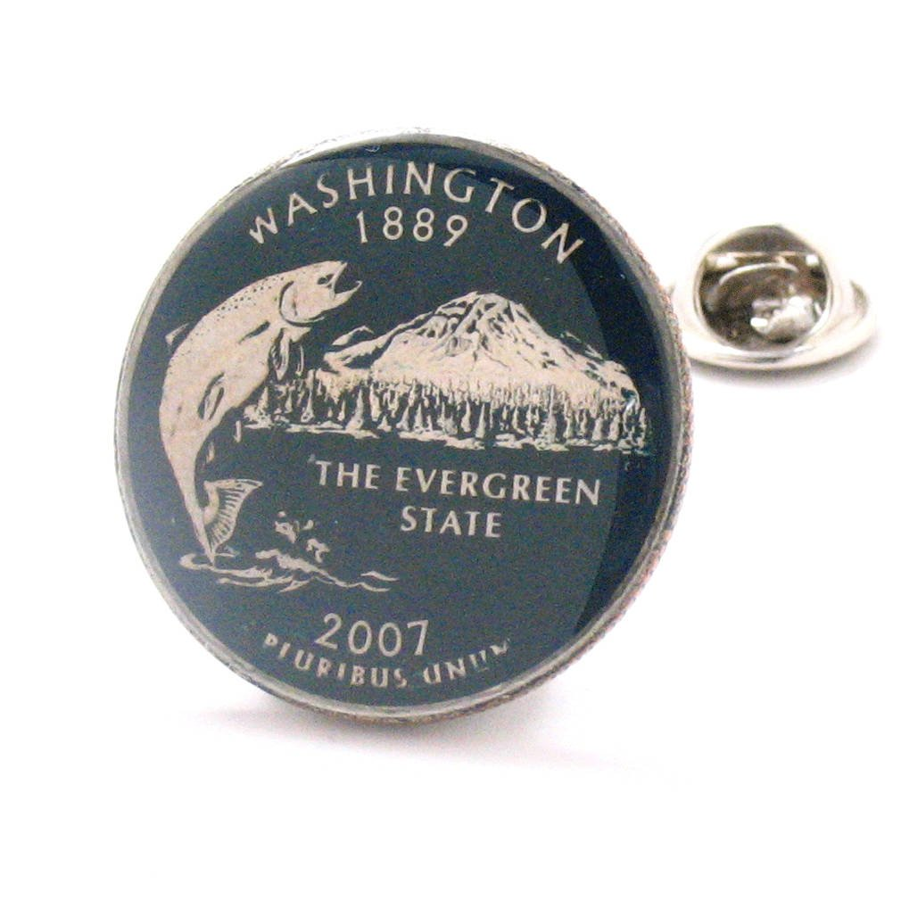 Washington Tie Tack Lapel Pin Suit Flag State Coin Jewelry USA United States America Fish Fishing Trout Seattle Spokane Tacoma by The Traveling Penny