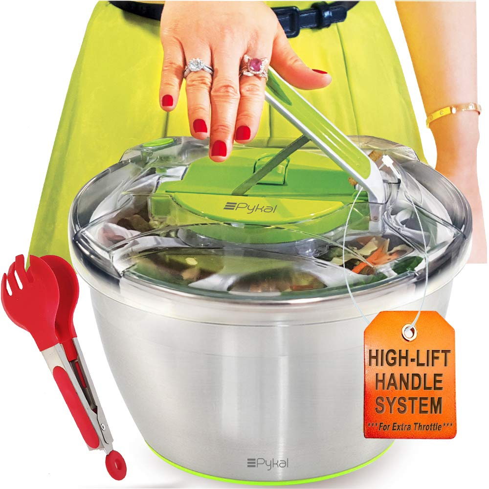 Large Stainless Steel Salads Spinner - Lettuce Dryer with FREE Tongs, Fast Dry action, Non-Slip Base, Dishwasher Safe Bowl with Colander & Push Handle Lever by PYKAL KIT-SS-001