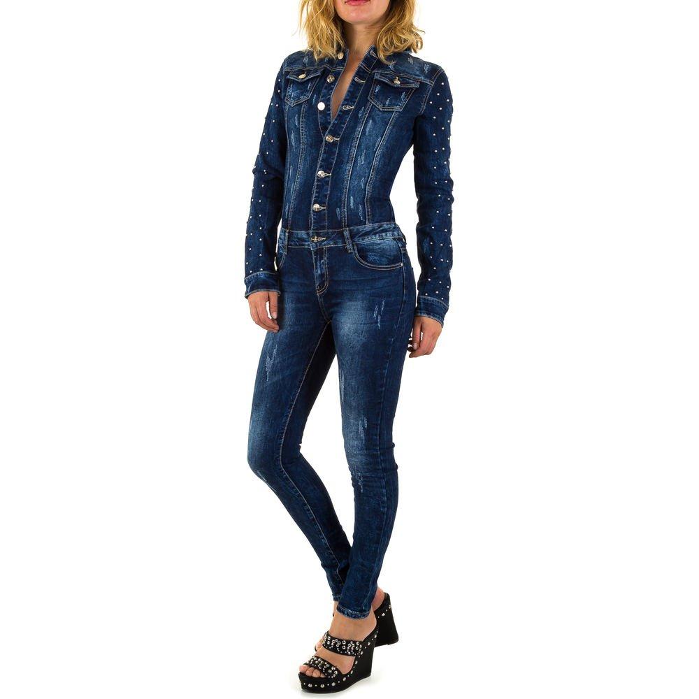 ORIGINAL Damen Langarm JEANS OVERALL Hose Jumpsuit Röhre Denim Stretch Einteiler