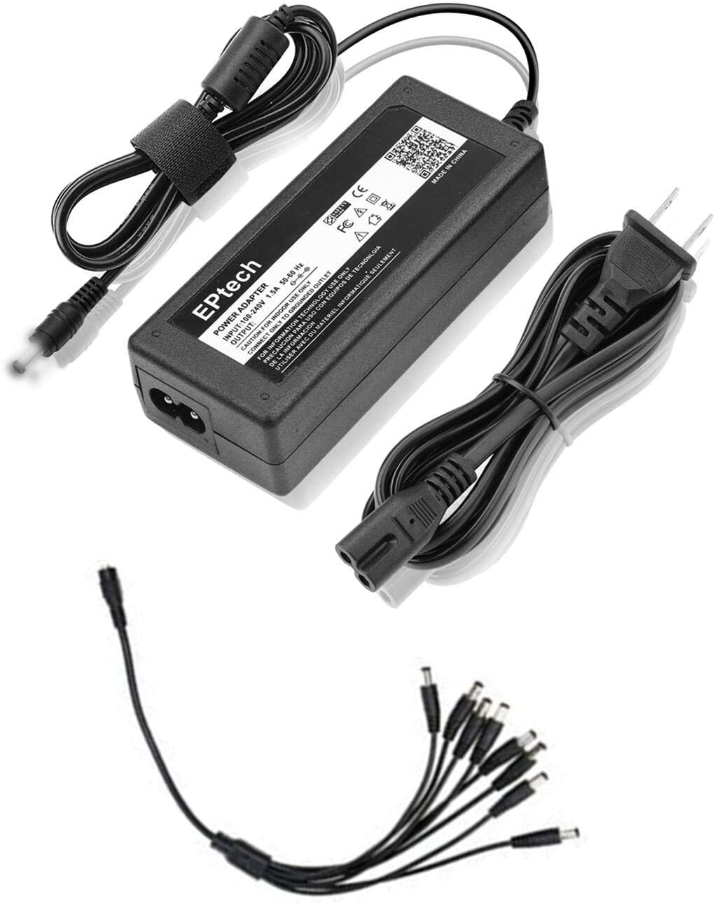 Ac Adapter for 12v CCTV Surveillance Security System Camera 4-Way to 8-Way Splitter 4CH for Camera Only ANNKE,Zmodo, JOOAN, Anran 8CH Channel HDMI Digital Video Recorder Audio DVR