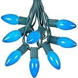 25 Foot C9 Blue Ceramic Christmas String Light Set - Outdoor Christmas Light String - Christmas Tree Lights – Opaque…