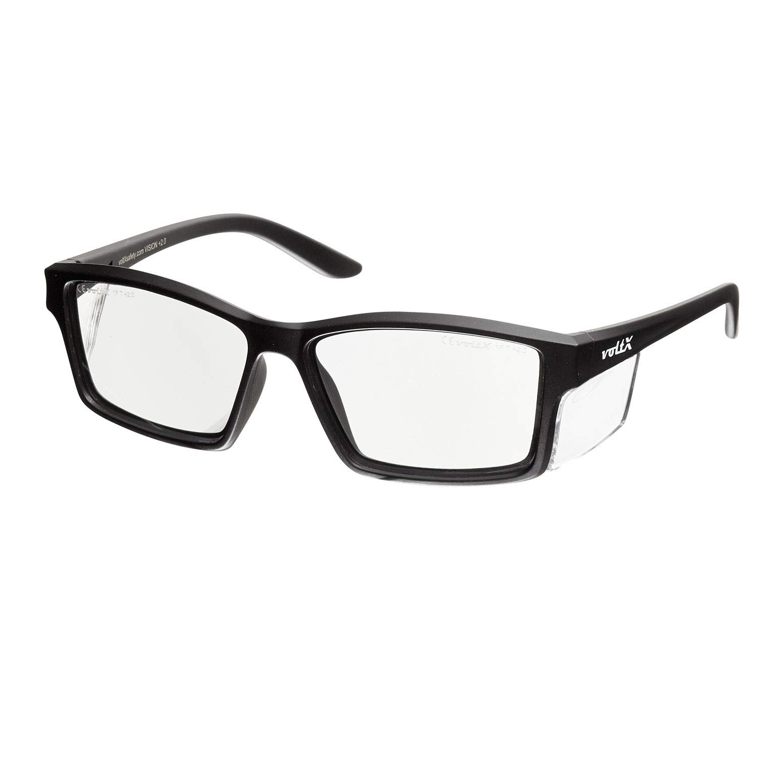 voltX 'VISION' Safety Readers (Clear +4.0 Dioptre Lens) Full Lens Magnified Reading Safety Glasses CE EN166ft certified - Anti fog coated UV400 lens StraightLines