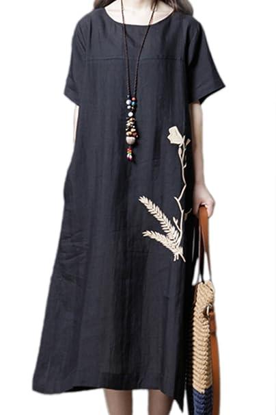 Túnica Vestido Mujer Manga Corta De Algodón Casual De Verano Vestidos Sueltos De Midi: Amazon.es: Ropa y accesorios