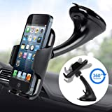 LotFancy Car Phone Mount , Universal Dashboard Windshield Phone Car Holder Stand, 360° Rotating for iPhone 12 11 Pro…