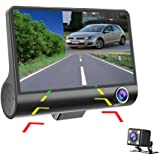 Hikity 4 Inch Dashcam Three-way Car Cameras Full HD 1080P Video Recorder 170 degree Wide View Dash Cam G-sensor Front Lens Night Vision Smart Chips High Version