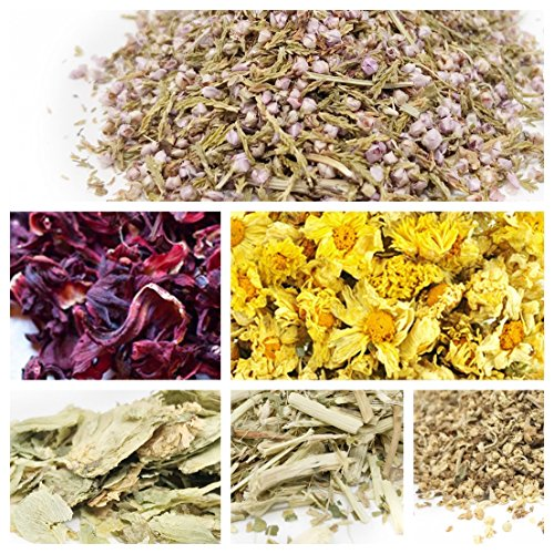 Herb Heather - bMAKER Edible & Kosher Certified Dried Flowers Sampler: Passion Flowers, Hibiscus, Elder, Heather, Hops and Chrysanthemum Flowers - Best for Culinary, and DIY Soap Making, Bath Bomb & Crafts
