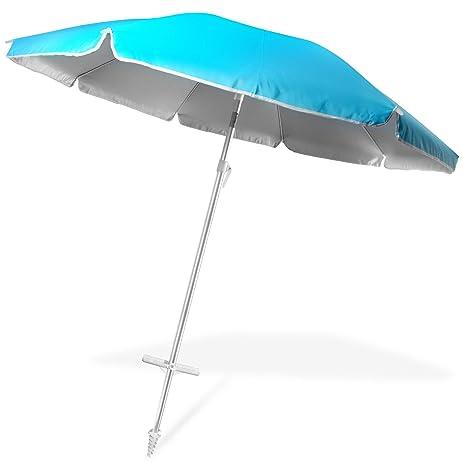 Ohuhu 8 FT Beach Umbrella, Patio Umbrella W/ Tilt, Telescoping Pole, Screw