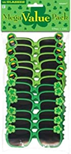 Amscan St. Patrick's Day Plastic Glasses, One Size, Green