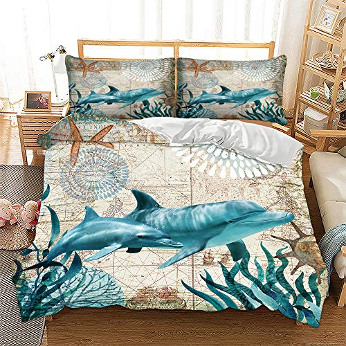 HANSUNBA 3D Printing Sea Animal Series Dolphin Sea Turtle Whale Seahorse Octopus 3PCS Kids and Adult Duvet Cover Quilt Cover Set(No Comforter) Single/Twin/Double/Full/Queen/King Size (Green,Queen) ()