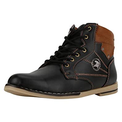 Black & Brown Casual Ankle Length Boots for Men
