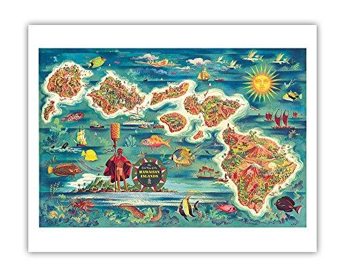 The Dole Map of The Hawaiian Islands - from The Hawaiian Pineapple Company - Vintage Colored Cartographic Map by Joseph Fehér c.1950 - Hawaiian Fine Art Print