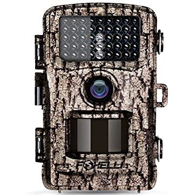 "Foxelli Trail Camera – 12MP 1080P Full HD Wildlife Scouting Hunting Camera with Motion Activated Night Vision, 120° Wide Angle Lens, 42 No Glow IR LEDs and 2.4"" LCD screen, IP66 Waterproof Game Camera by Foxelli"