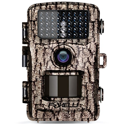 "Foxelli Trail Camera – 12MP 1080P Full HD Wildlife Scouting Hunting Camera with Motion Activated Night Vision, 120° Wide Angle Lens, 42 IR LEDs and 2.4"" LCD Screen, IP66 Waterproof Game Camera by Foxelli"