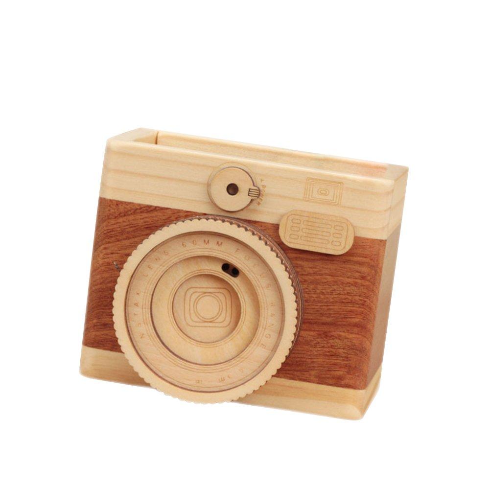 Da.WA portapenne in legno a forma di macchina fotografica del supporto della penna creativo cancelleria Storage box ufficio casa scrivania Supplies Storage box