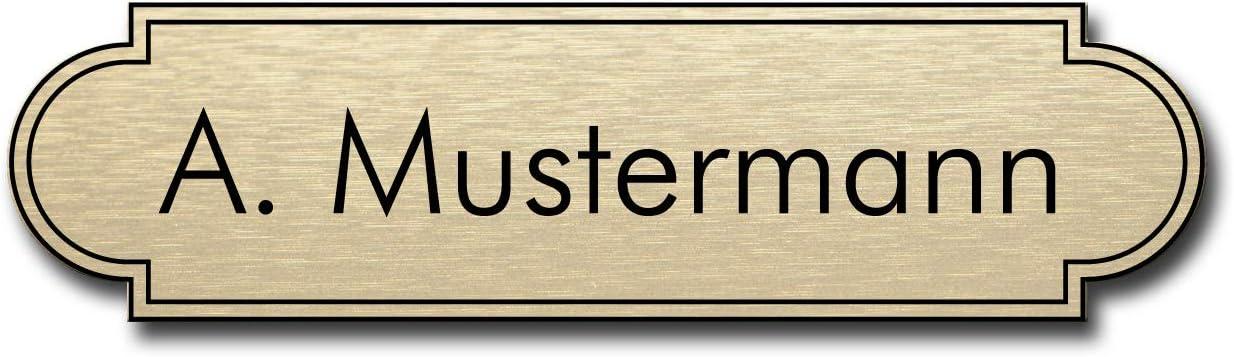 LAVICOM Selbstklebendes Klingelschild Briefkastenschild T/ürschild Haust/ürschild Pokalschild mit Gravur 120mm breit Kupfer//schwarz