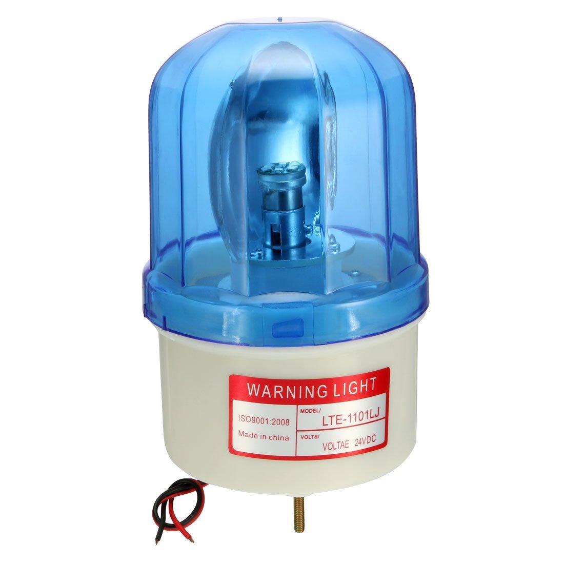 uxcell LED Warning Light Bulb Rotating Flashing Signal Alarm Lamp Buzzer 90dB DC 24V Blue LTE1101LJ