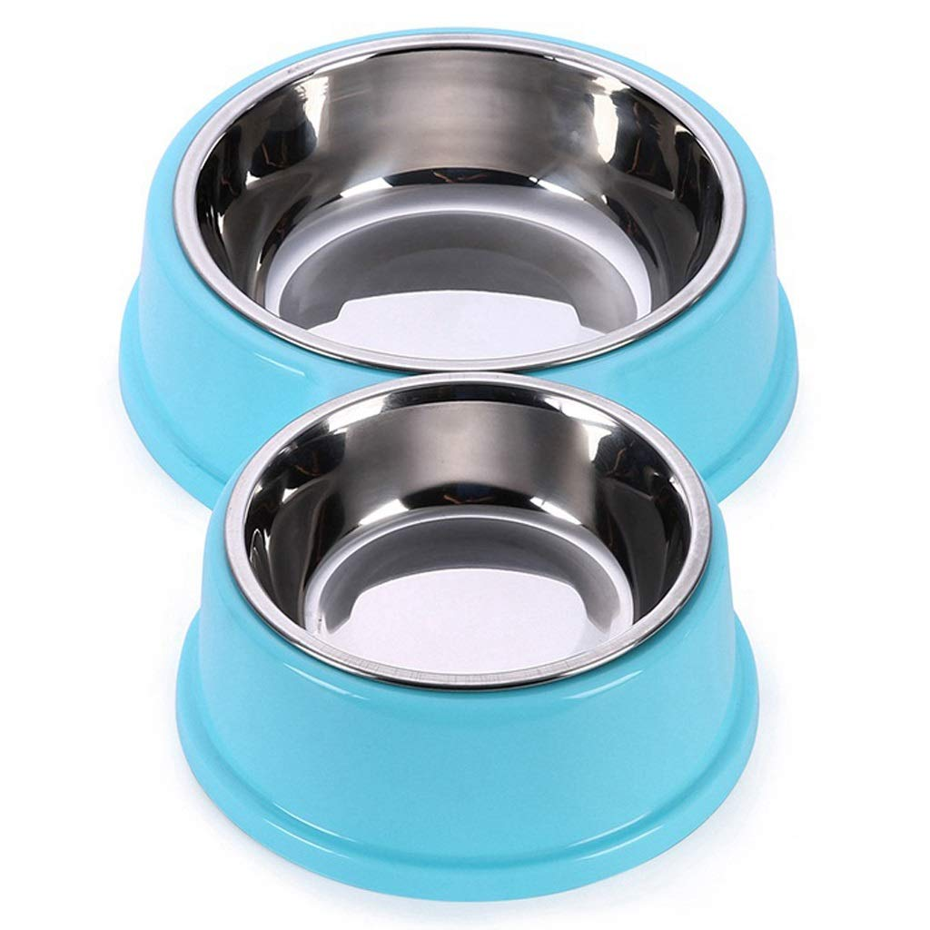 bluee NYDZDM Stainless Steel Dog Bowl Pet Double Bowls Plastic 8 Shaped Cat Food Bowls Water Container for Puppy Small Dogs Feeding Feeders (color   Pink)