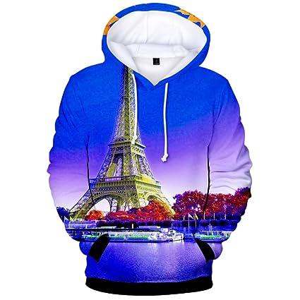 Torre de arce hoja 3D impresiones Pullover sudadera con capucha de invierno de lana con capucha