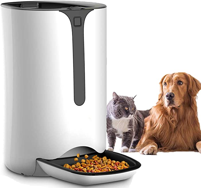 Automatic Pet Feeder for Dog and Cat Food Dispenser with Timed Programmable, Portion Control Up to 4 Meals Per Day, Voice Recorder, Battery and Plug-in Power 7L for Small Medium and Large Pet