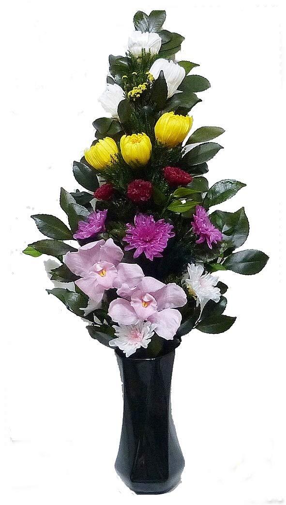 【仏花倶楽部®】のプリザーブドフラワー仏花:B06ZY443HR 【size LL 】(お花はもちろん、葉っぱにいたるまで、造花は一切使用しておりません)) B06ZY443HR