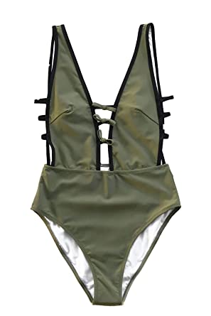 1903e91f2a0 CUPSHE Women's Flirty and Strappy Plunging Neckline High Leg One-Piece  Swimsuit Small Army Green