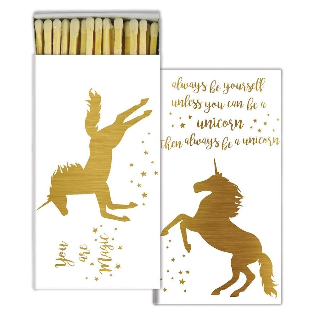 Magical Unicorn - Gold Foil - Match Boxes with Wooden Matches (Set of 10)