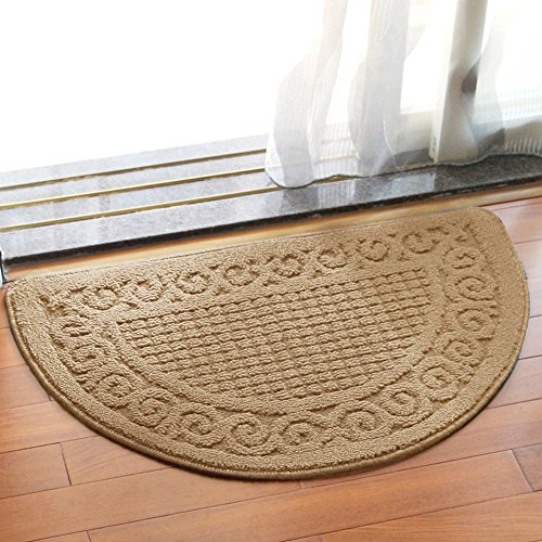 Olpchee Half Round Non-Slip Kitchen Bedroom Toilet Doormat Floor Rug Mat Keeps your Floors Clean Decorative Design (Large, Camel) (Door Round Half Mats)