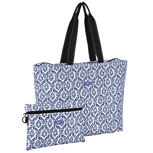e 2-in-1 Lightweight Quilted Travel Bag and Pouch Duo, Zipper Pouch Snaps Inside Tote, Water Resistant, Zips Closed, The Blue Hour (Carry On Fold Over Clutch)