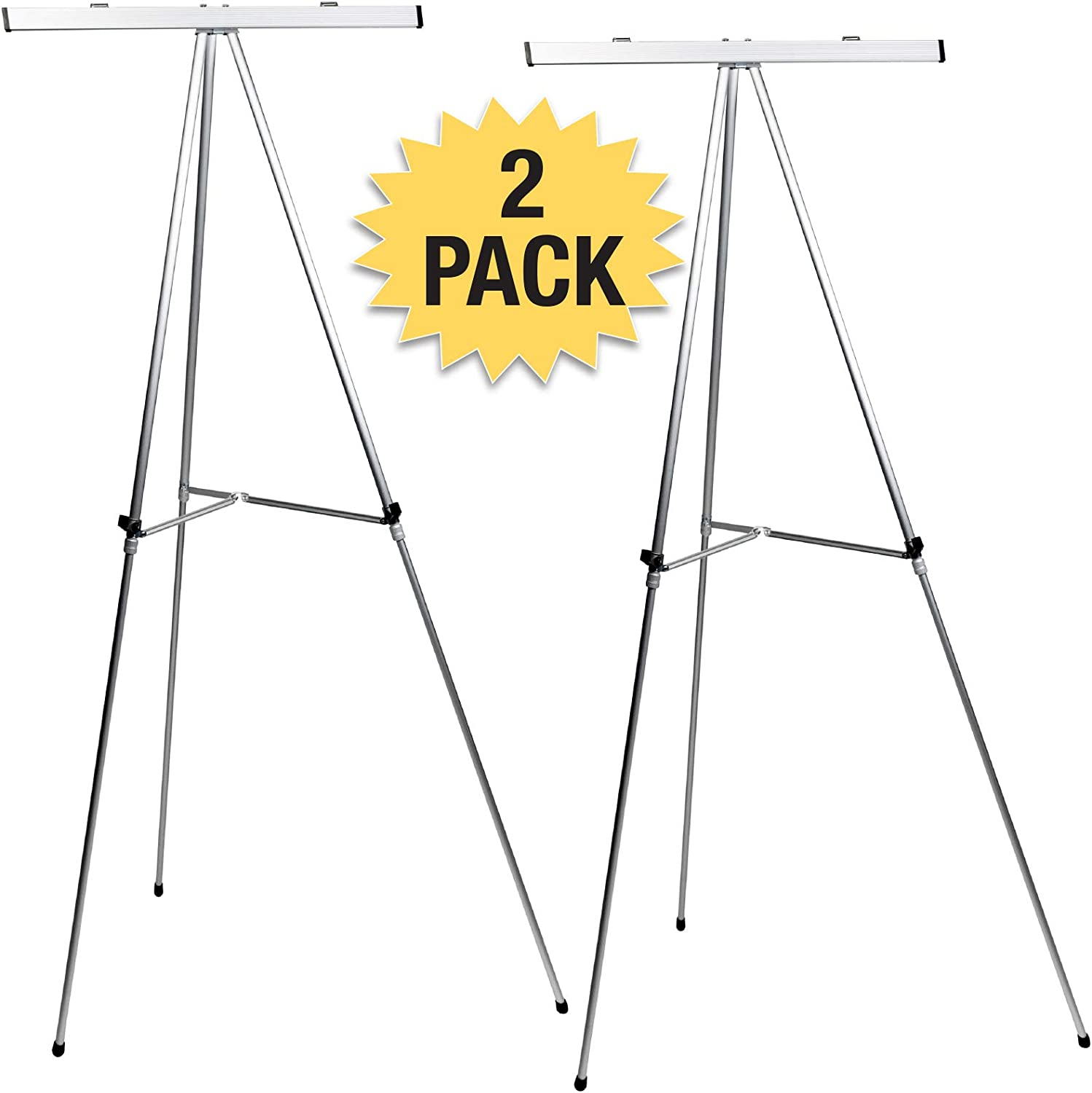 70 Inches Black Aluminum Flip-Chart Presentation Easel 2-Pack with Telescoping Legs