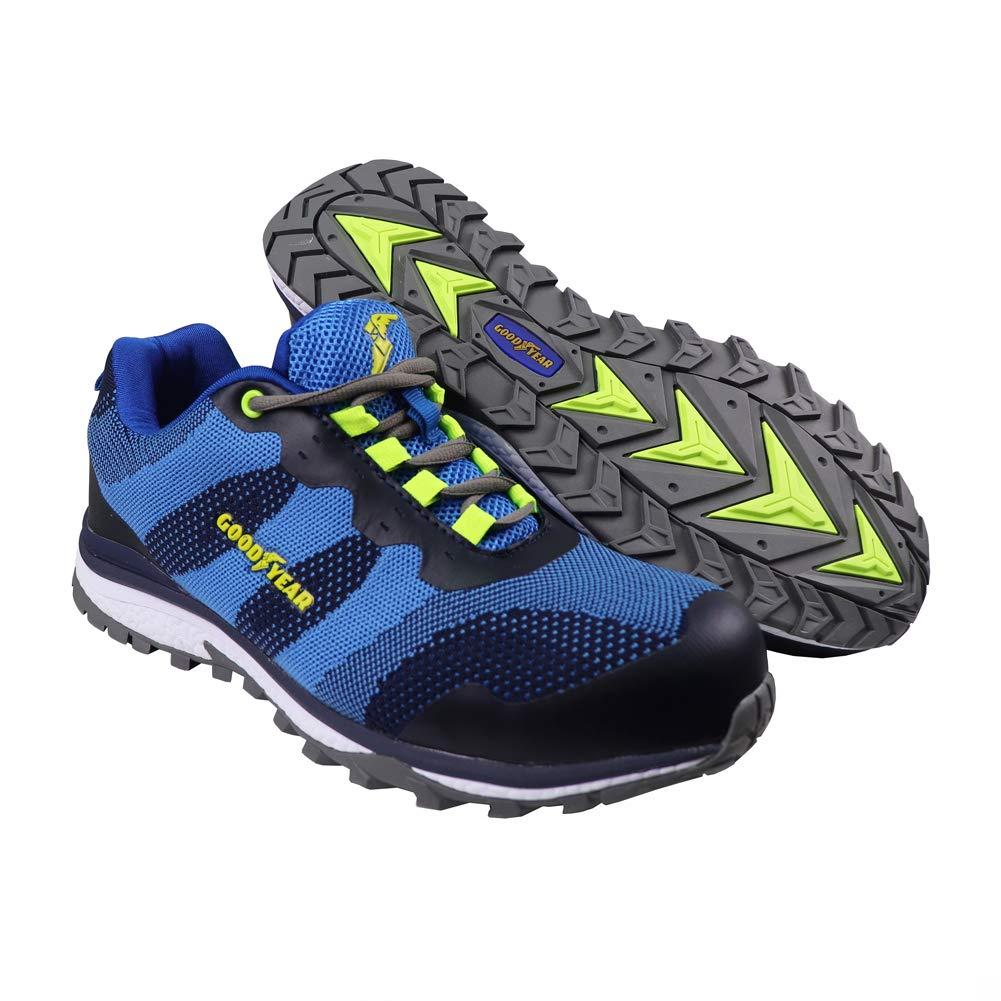 Goodyear Workwear GYSHU1573 - Zapatillas deportivas para hombre, ligeras, de seguridad, deportivas, no metálicas, punta compuesta, entresuela S1P/SRA, 9/43, azul, 1