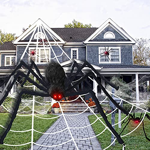 6.6FT Giant Spider Halloween Decorations with 23ft Triangular Large Spider Web, 20g Stretchy Spider Cobweb and 10pcs Small Plastic Spiders for Halloween Creepy Decor Indoor, Outdoor, Party, Wall, Yard