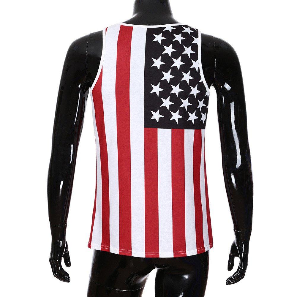 BaZhaHei Chaleco de Hombre Camisetas Personalidad de los Hombre de la Bandera Americana Informal Manga delgadaLess T Shirt Tank Top Blusa Chaleco Estampado Hombre Top