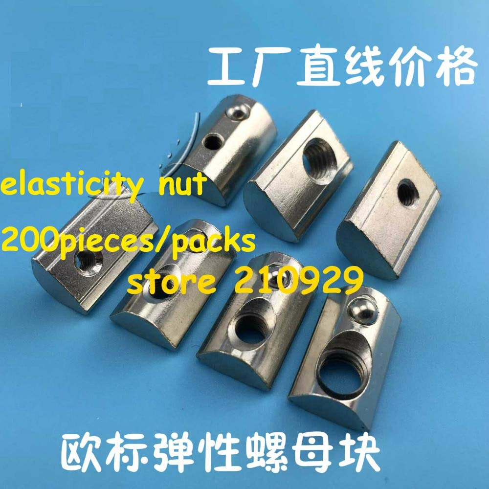 Nuts 200pieces/pack M4 M5 M6 M8 Elasticity nut Apply 4545 Profile Fastener Connector - (Size: 4545M8)