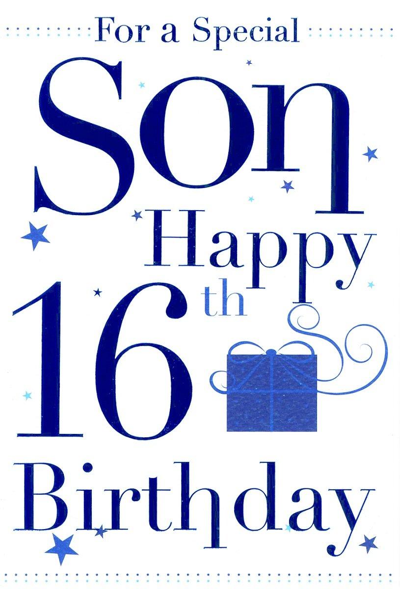 Grandson Happy 16th Birthday Card Blue Balloons Amazon