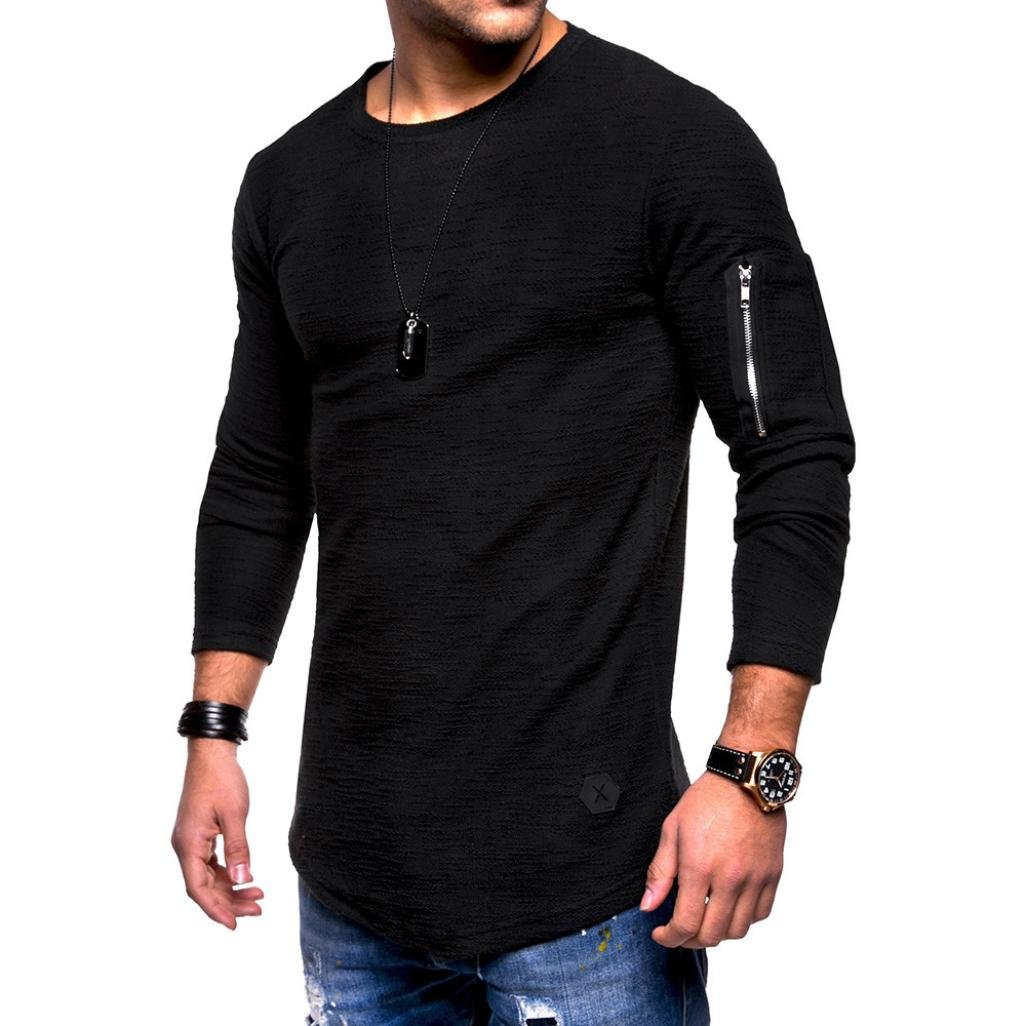 OWMEOT 00% Cotton Mens Casual V-Neck Button Slim Muscle Tops Tee Short Sleeve T- Shirts (Black, 2XL)