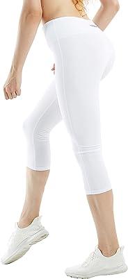 COOLOMG Women's Yoga Pants Compression Running Tights + 3/4 Workout Capri Leggings