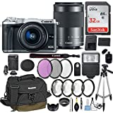Canon EOS M6 Mirrorless Digital Camera with EF-M 15-45mm f/3.5-6.3 & EF-M 55-200mm f/4.5-6.3 IS STM Bundle Silver + Canon Gadget Bag + 32GB Memory + Professional Accessories - Filters, Macros & More.