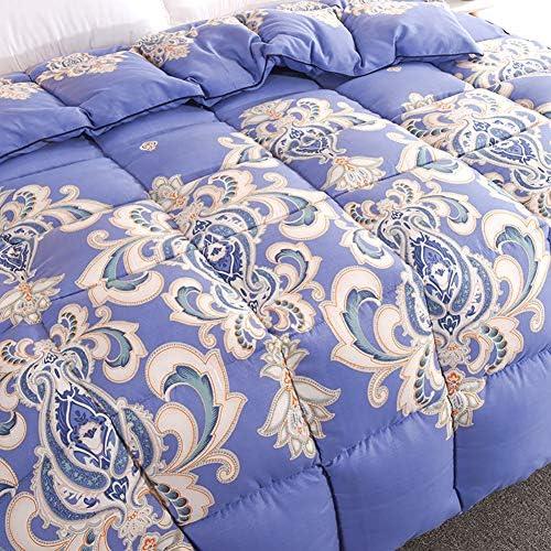 ZXTT Housses De Couette Respirant Polyester Couette en Microfibre épaissie Couette Légère Quilts Couvertures Impression Bleu Fade Résistant -a Queen2