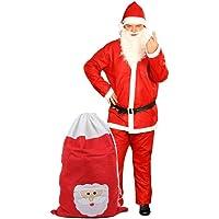 Costume père noël + Sac de cadeau (KV-73b) déguisement rouge et blanc pour adulte complet pas cher L'ensemble est confortable et facile à enfiler. En feutrine très douce pour les fêtes de fin d'année