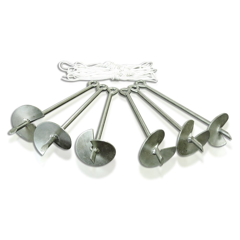 Caravan Canopy Domain Carport Anchor System, Set of 6 Anchors, Metallic SEASONAL TRENDS Caravan Global 10001400002